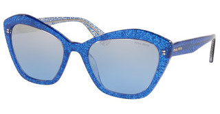 Miu Miu MU 05US 1452B2 LIGHT BLUE MIRROR SILVER GRADGLITTER BLUE